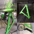 Bike frame powder coated in special green
