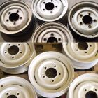 Steel wheels coated in white